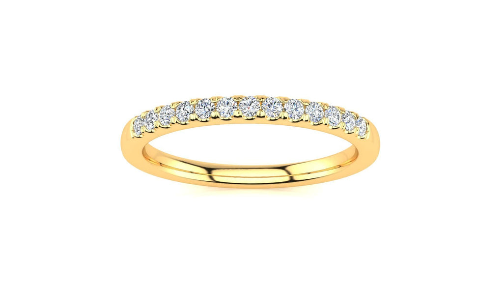 Ring 10K YELLOW GOLD Micropavé 1/5 Carat Diamond Wedding Band Micropavé Venus Ring  1/5 CT | Storyandhearts.com