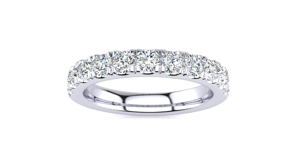 Ring 10K WHITE GOLD MicropavŽ 3/4 Carat Diamond Wedding Band