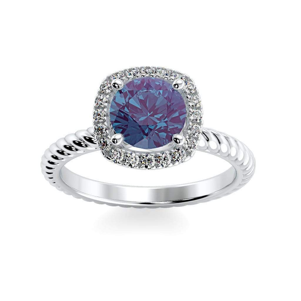 Ring 10K White Gold / 6mm Round Penelope Round Chatham Alexandrite Halo Diamond Ring Penelope  | Chatham Alexandrite | Halo Diamond Ring  | Storyandhearts.com