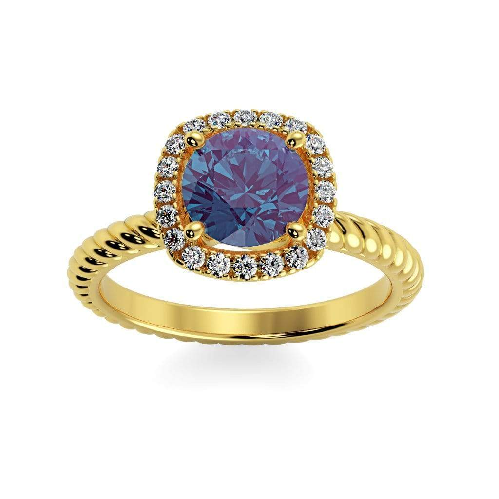 Ring 10K Yellow Gold / 6mm Round Penelope Round Chatham Alexandrite Halo Diamond Ring Penelope  | Chatham Alexandrite | Halo Diamond Ring  | Storyandhearts.com
