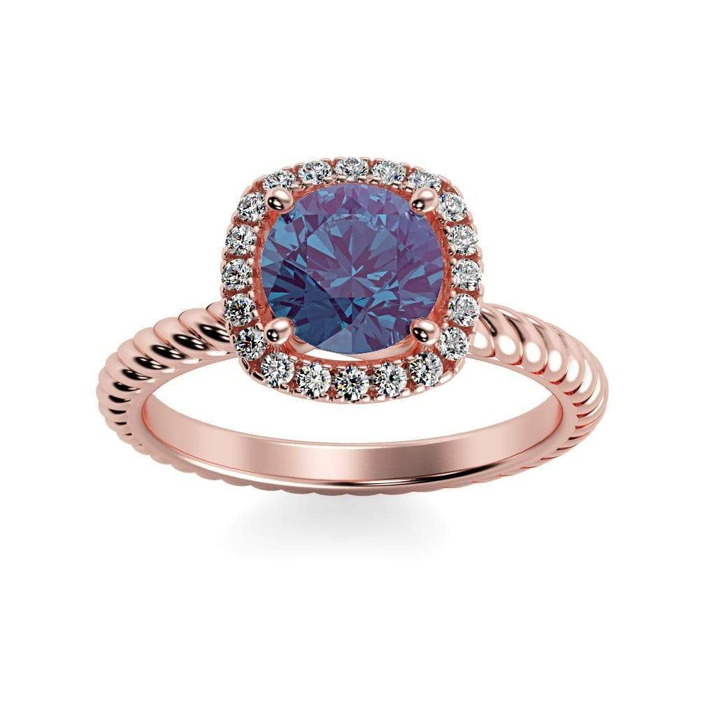 Ring 14K Rose Gold / 6mm Round Penelope Round Chatham Alexandrite Halo Diamond Ring Penelope  | Chatham Alexandrite | Halo Diamond Ring  | Storyandhearts.com