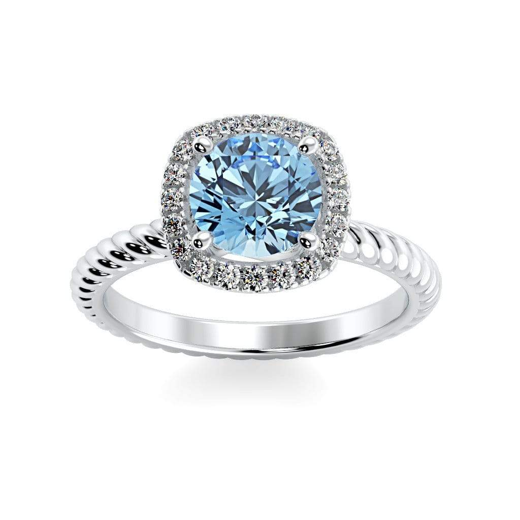 Ring 10K White Gold / 6mm Round Penelope Round Chatham Aqua Blue Spinel Halo Diamond Ring Penelope  | Chatham Aqua Blue Spinel | Halo Diamond Ring  | Storyandhearts.com