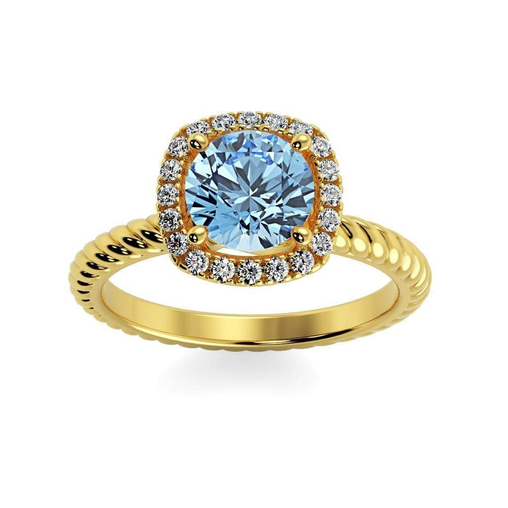 Ring 10K Yellow Gold / 6mm Round Penelope Round Chatham Aqua Blue Spinel Halo Diamond Ring Penelope  | Chatham Aqua Blue Spinel | Halo Diamond Ring  | Storyandhearts.com