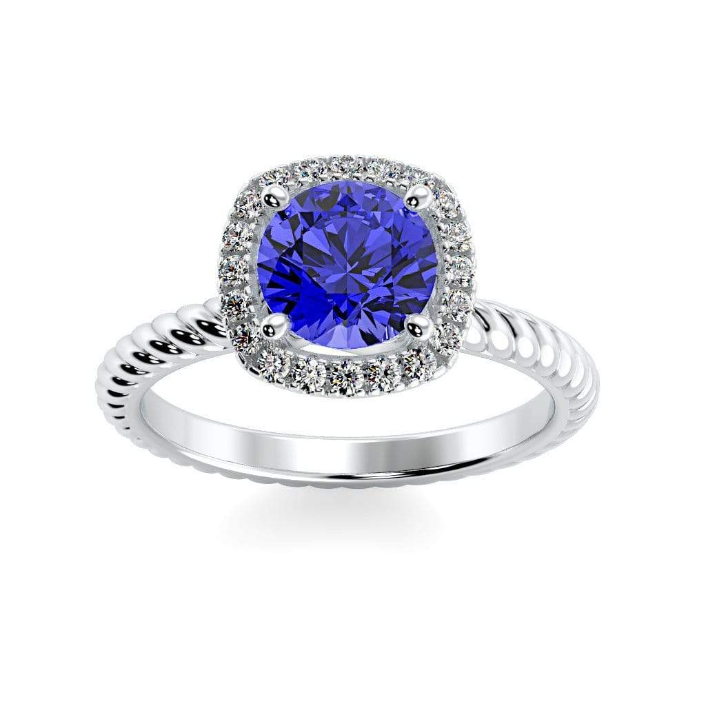 Ring 10K White Gold / 6mm Round Penelope Round Chatham Blue Sapphire Halo Diamond Ring Penelope  | Blue Sapphire | Halo Diamond Ring  | Storyandhearts.com
