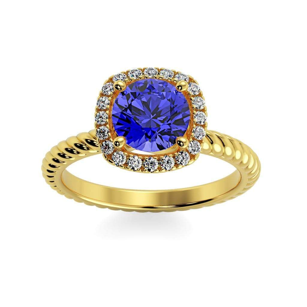 Ring 10K Yellow Gold / 6mm Round Penelope Round Chatham Blue Sapphire Halo Diamond Ring Penelope  | Blue Sapphire | Halo Diamond Ring  | Storyandhearts.com