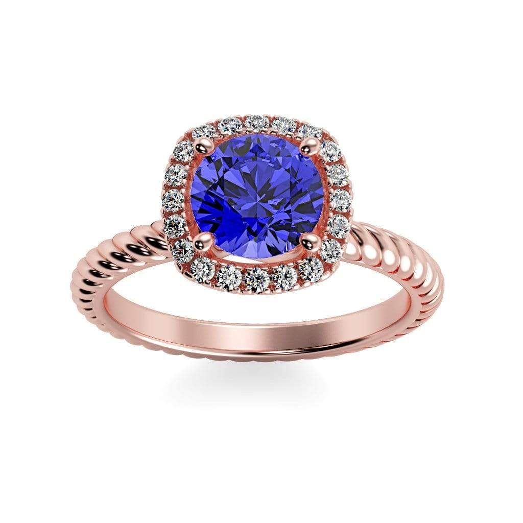 Ring 14K Rose Gold / 6mm Round Penelope Round Chatham Blue Sapphire Halo Diamond Ring Penelope  | Blue Sapphire | Halo Diamond Ring  | Storyandhearts.com