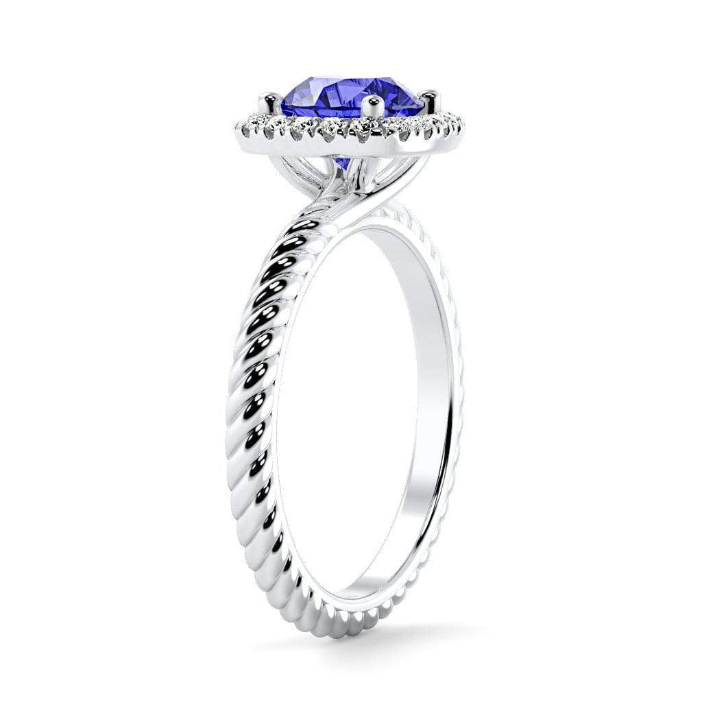 Ring Penelope Round Chatham Blue Sapphire Halo Diamond Ring Penelope  | Blue Sapphire | Halo Diamond Ring  | Storyandhearts.com