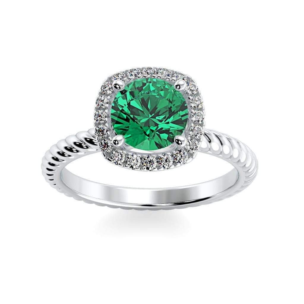 Ring 10K White Gold / 6mm Round Penelope Round Chatham Emerald Halo Diamond Ring Penelope  | Chatham Emerald | Halo Diamond Ring  | Storyandhearts.com