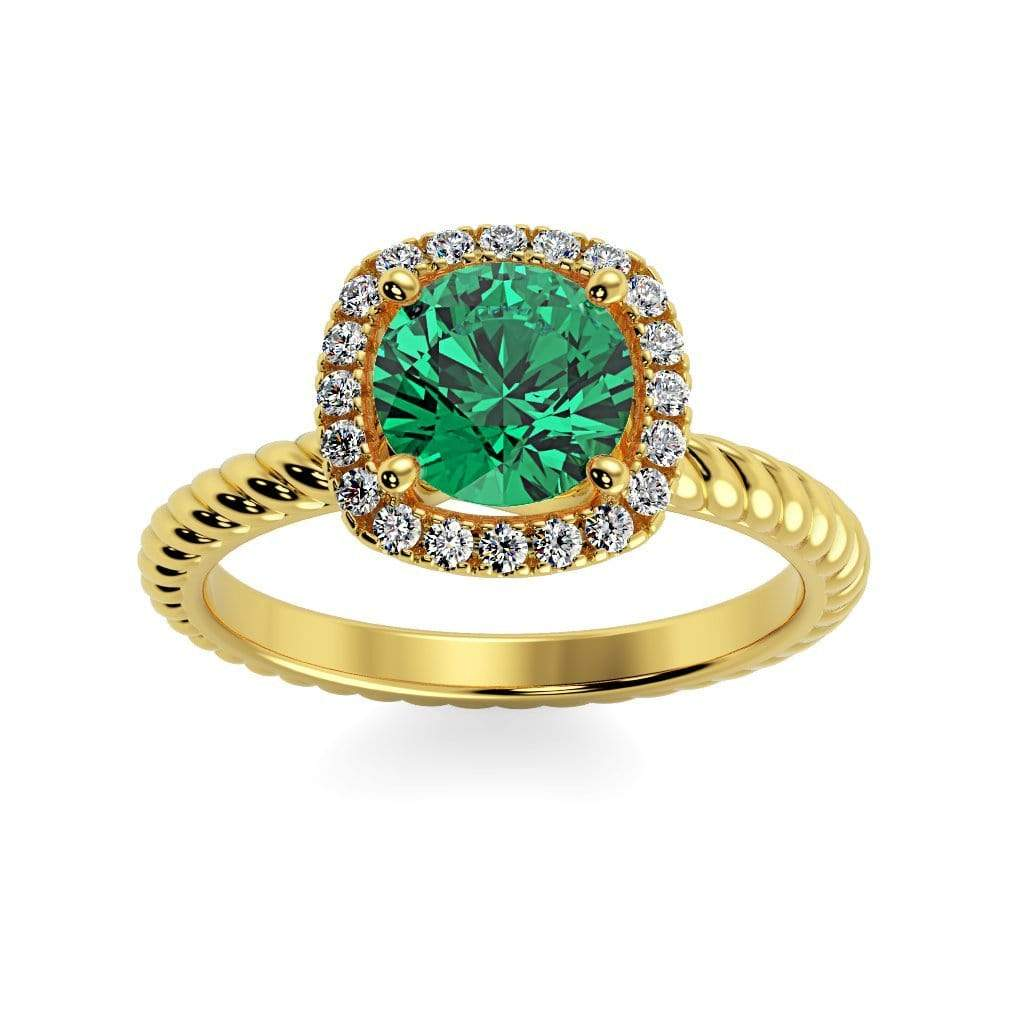 Ring 10K Yellow Gold / 6mm Round Penelope Round Chatham Emerald Halo Diamond Ring Penelope  | Chatham Emerald | Halo Diamond Ring  | Storyandhearts.com