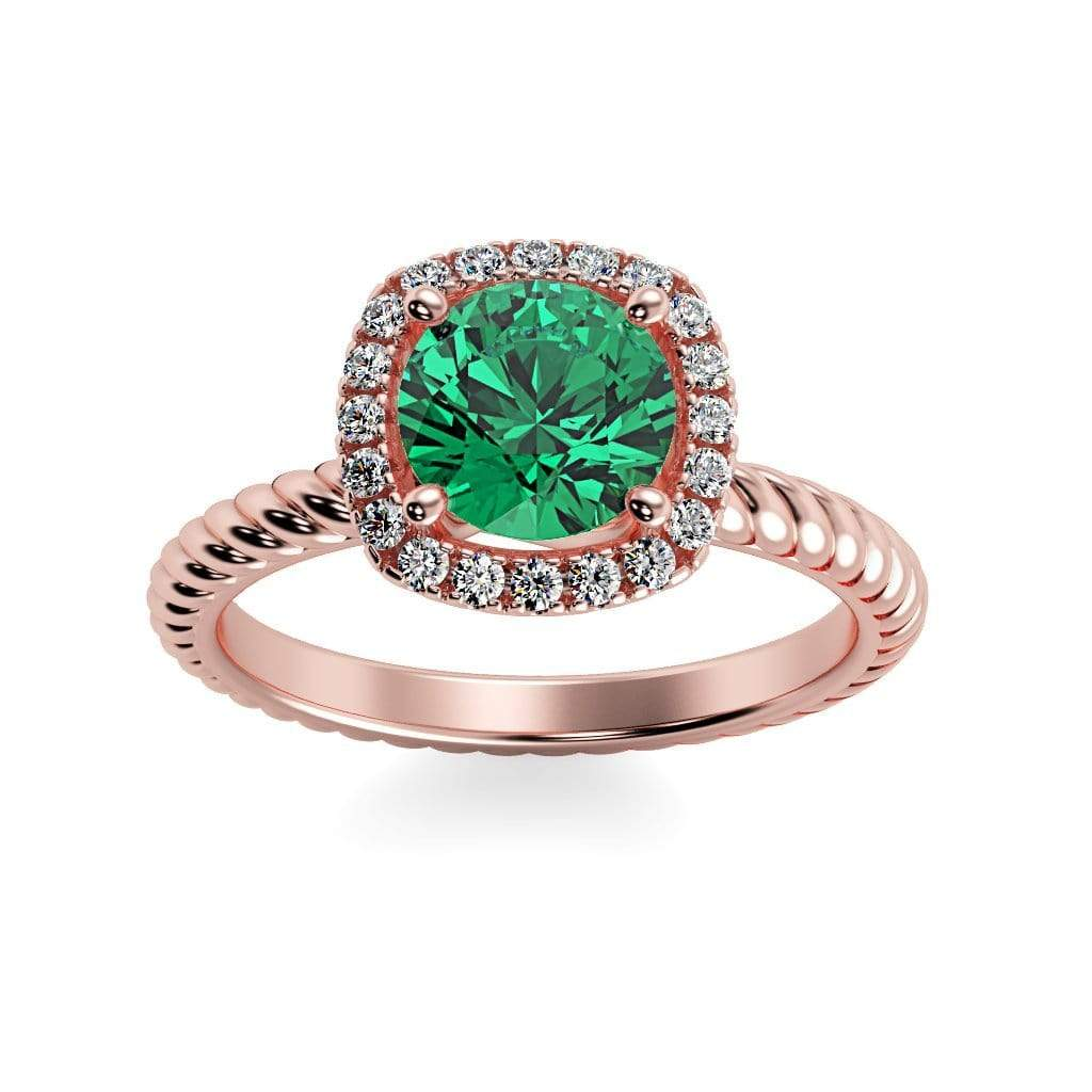 Ring 14K Rose Gold / 6mm Round Penelope Round Chatham Emerald Halo Diamond Ring Penelope  | Chatham Emerald | Halo Diamond Ring  | Storyandhearts.com