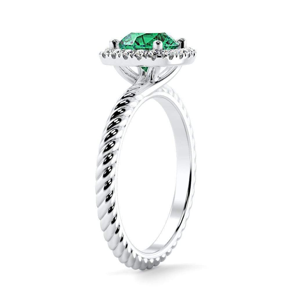 Ring Penelope Round Chatham Emerald Halo Diamond Ring Penelope  | Chatham Emerald | Halo Diamond Ring  | Storyandhearts.com