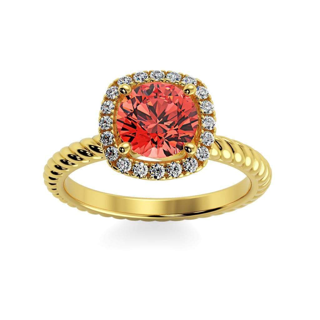 Ring 10K Yellow Gold / 6mm Round Penelope Round Chatham Padparadscha Sapphire Halo Diamond Ring Penelope  | Chatham Padparadscha Sapphire | Halo Diamond Ring  | Storyandhearts.com
