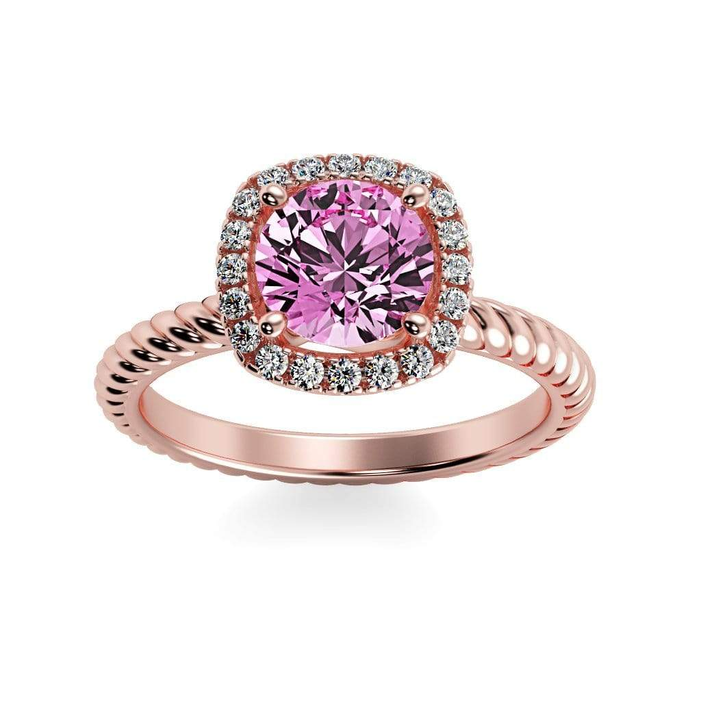 Ring 14K Rose Gold / 6mm Round Penelope Round Chatham Pink Sapphire Halo Diamond Ring Penelope  | Chatham Pink Sapphire | Halo Diamond Ring  | Storyandhearts.com