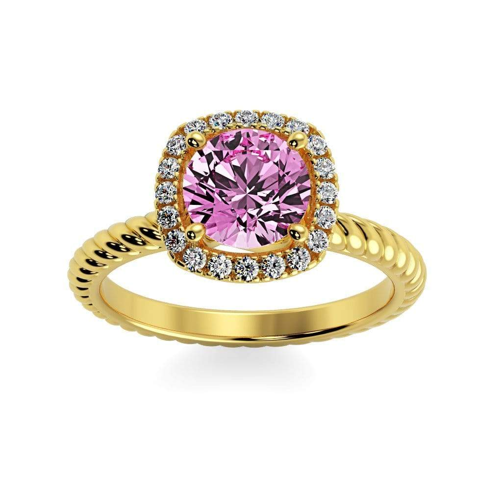 Ring 10K Yellow Gold / 6mm Round Penelope Round Chatham Pink Sapphire Halo Diamond Ring Penelope  | Chatham Pink Sapphire | Halo Diamond Ring  | Storyandhearts.com