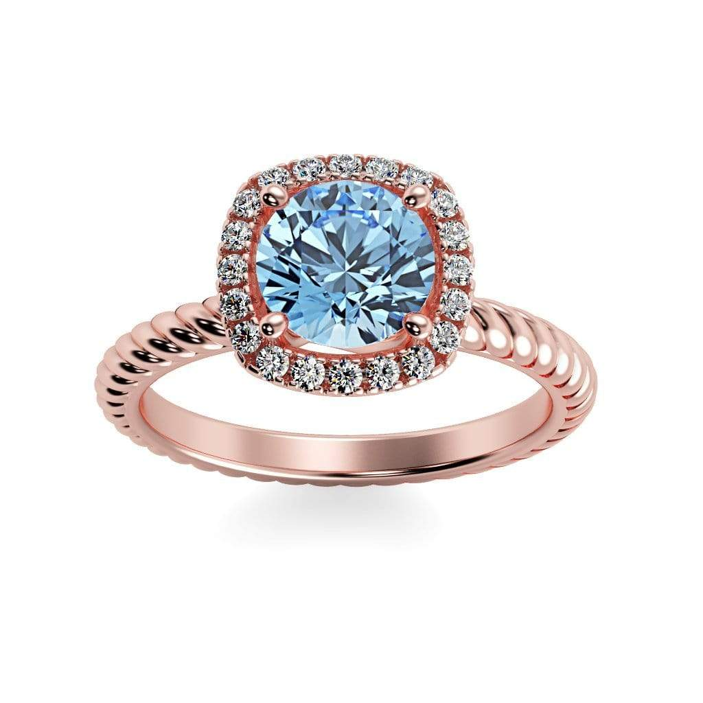 Ring 14K Rose Gold / 6mm Round Penelope Round Chatham Ruby Halo Diamond Ring Penelope  | Chatham Aqua Blue Spinel | Halo Diamond Ring  | Storyandhearts.com