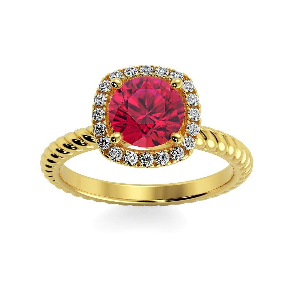 Ring 10K Yellow Gold / 6mm Round Penelope Round Chatham ruby Halo Diamond Ring Penelope  | Chatham Ruby | Halo Diamond Ring  | Storyandhearts.com