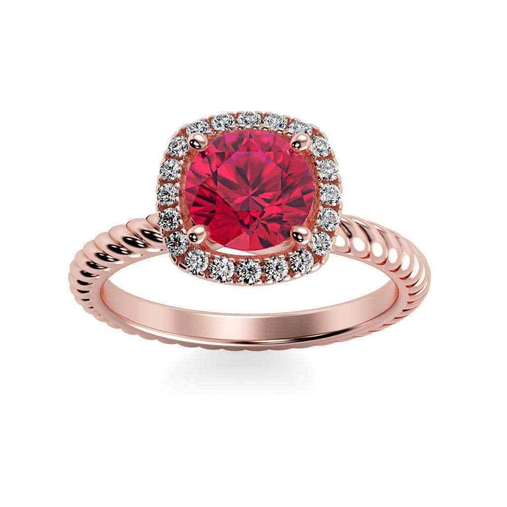 Ring 14K Rose Gold / 6mm Round Penelope Round Chatham ruby Halo Diamond Ring Penelope  | Chatham Ruby | Halo Diamond Ring  | Storyandhearts.com