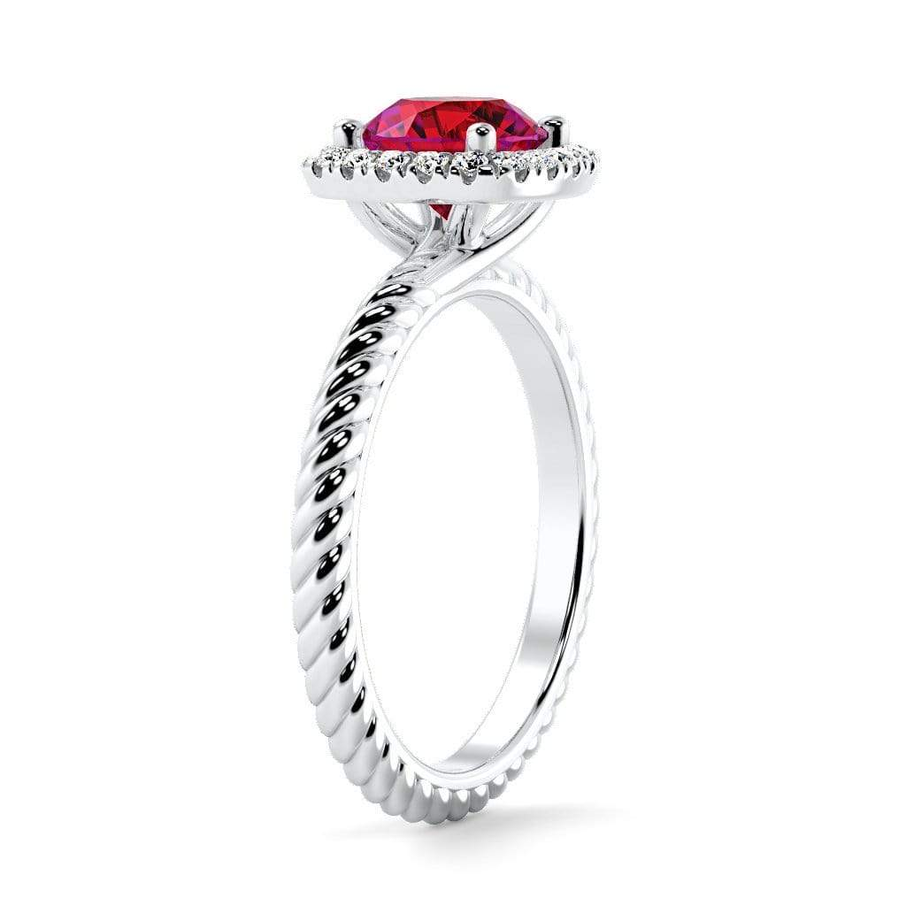 Ring Penelope Round Chatham ruby Halo Diamond Ring Penelope  | Chatham Ruby | Halo Diamond Ring  | Storyandhearts.com