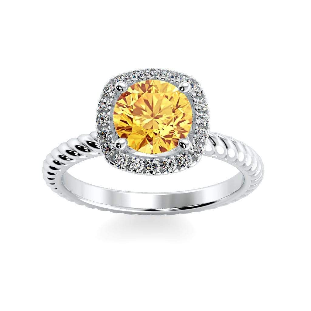 Ring 10K White Gold / 6mm Round Penelope Round Chatham Yellow Sapphire Halo Diamond Ring Penelope  | Chatham Yellow Sapphire | Halo Diamond Ring  | Storyandhearts.com