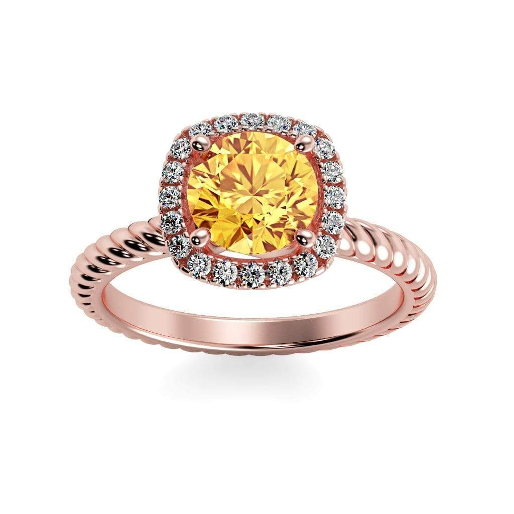 Ring 14K Rose Gold / 6mm Round Penelope Round Chatham Yellow Sapphire Halo Diamond Ring Penelope  | Chatham Yellow Sapphire | Halo Diamond Ring  | Storyandhearts.com