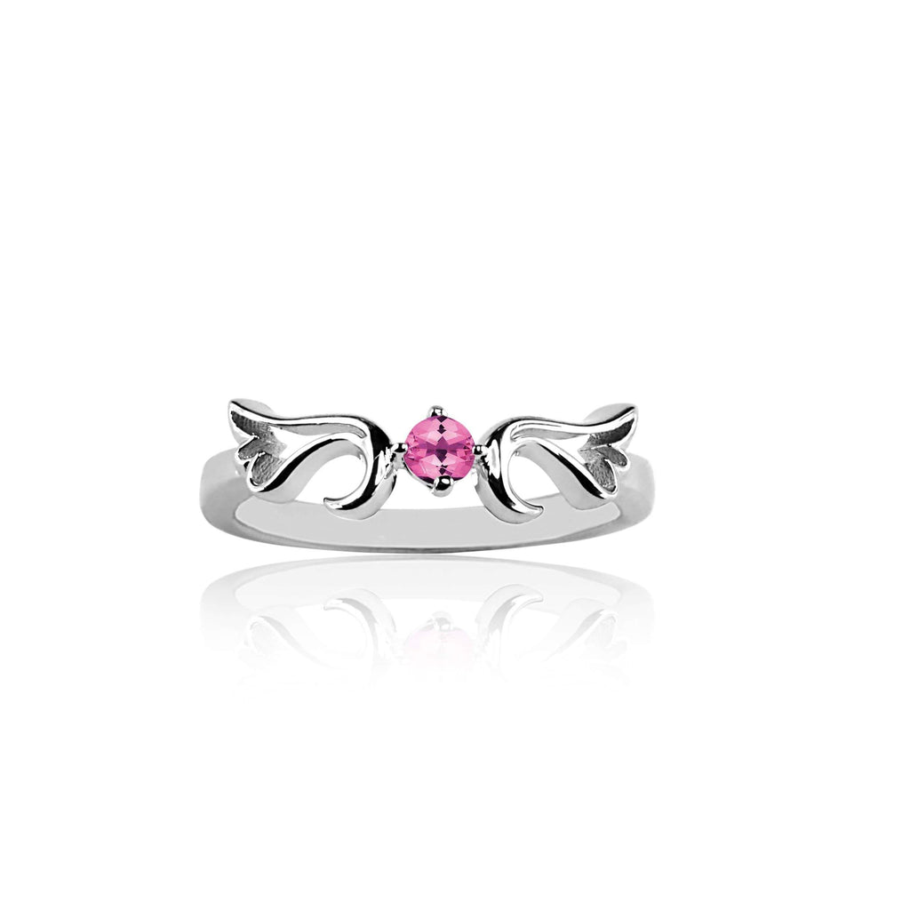 Ring Pink Tourmaline Guardian Angel Ring- October
