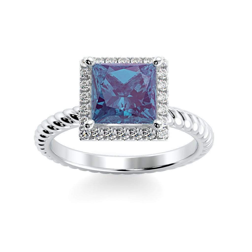 Ring 10K White Gold / 6mm Princess Sonja Princess Chatham Alexandrite Halo Diamond Ring Sonya  | Chatham Alexandrite | Halo Diamond Ring  | Storyandhearts.com