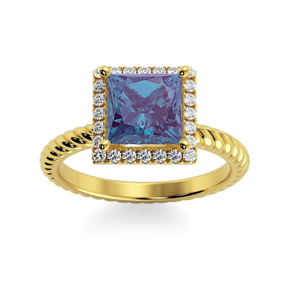 Ring 10K Yellow Gold / 6mm Princess Sonja Princess Chatham Alexandrite Halo Diamond Ring Sonya  | Chatham Alexandrite | Halo Diamond Ring  | Storyandhearts.com