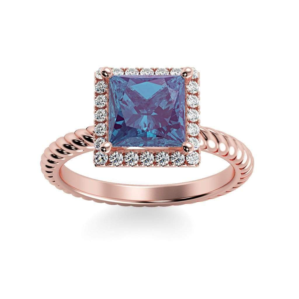 Ring 14K Rose Gold / 6mm Princess Sonja Princess Chatham Alexandrite Halo Diamond Ring Sonya  | Chatham Alexandrite | Halo Diamond Ring  | Storyandhearts.com