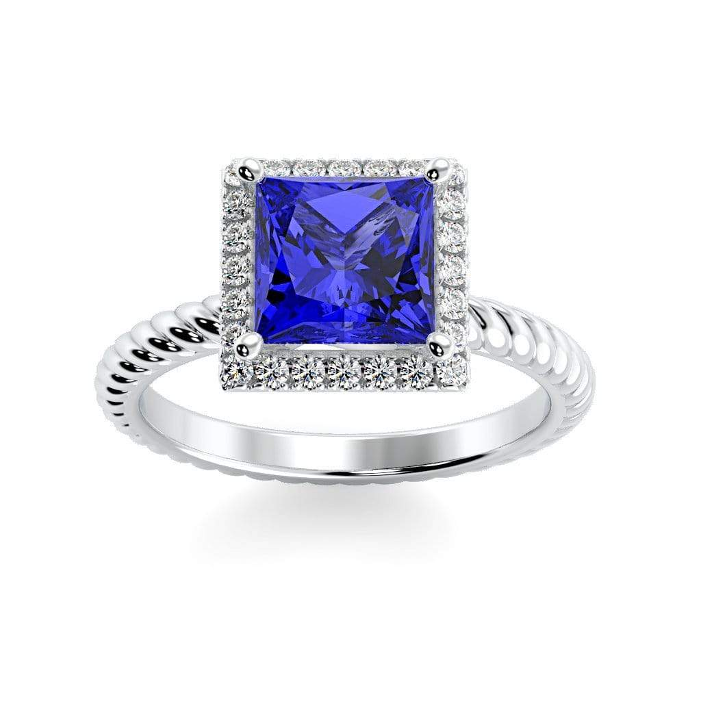 Ring 10K White Gold / 6mm Princess Sonja Princess Chatham Blue Sapphire Halo Diamond Ring Sonya  | Blue Sapphire | Halo Diamond Ring  | Storyandhearts.com