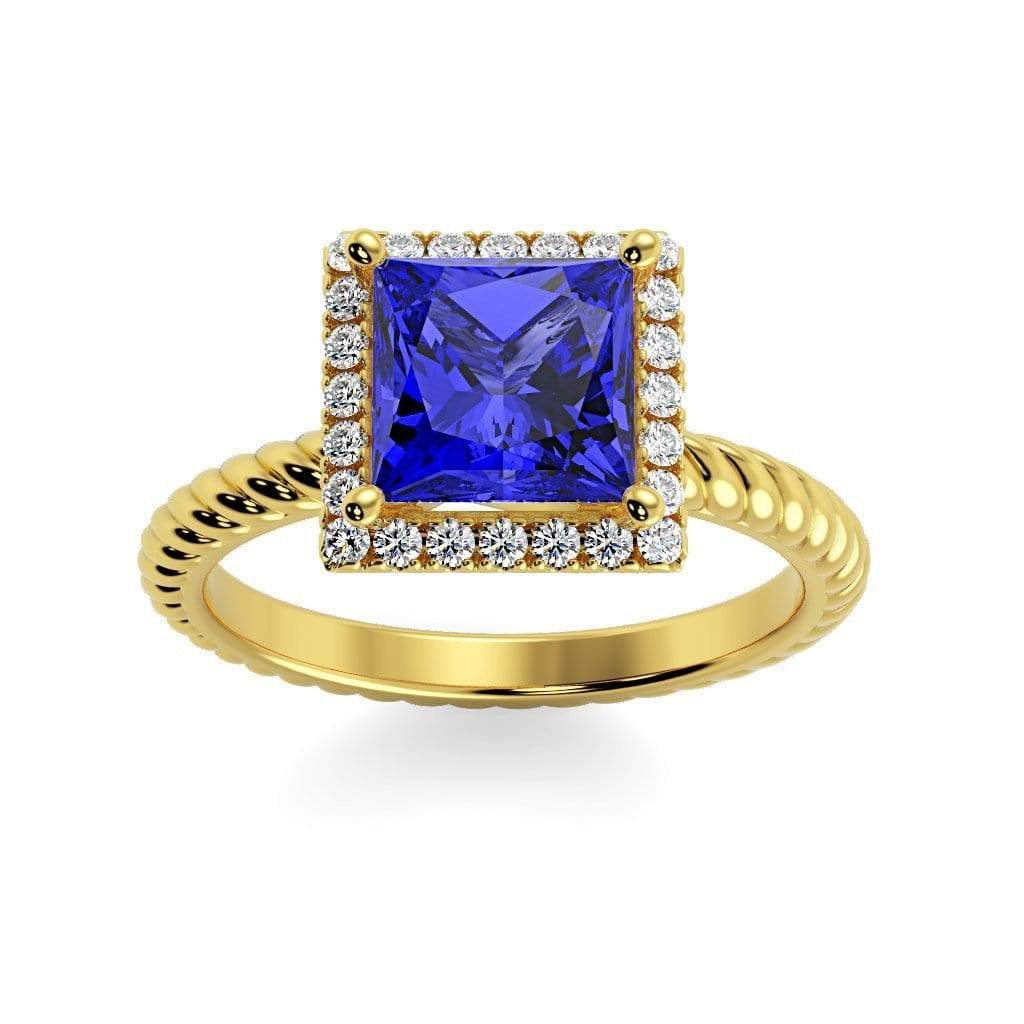 Ring 10K Yellow Gold / 6mm Princess Sonja Princess Chatham Blue Sapphire Halo Diamond Ring Sonya  | Blue Sapphire | Halo Diamond Ring  | Storyandhearts.com