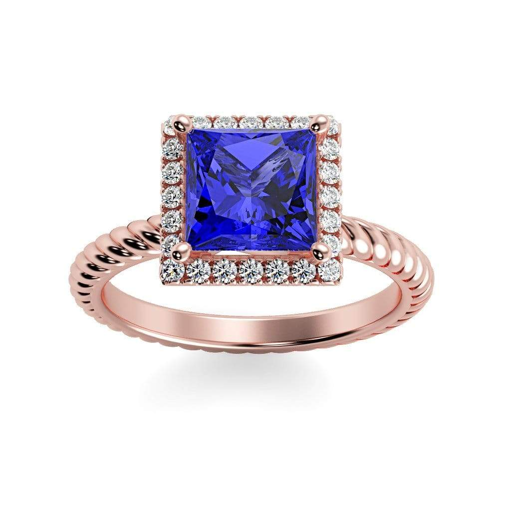 Ring 14K Rose Gold / 6mm Princess Sonja Princess Chatham Blue Sapphire Halo Diamond Ring Sonya  | Blue Sapphire | Halo Diamond Ring  | Storyandhearts.com