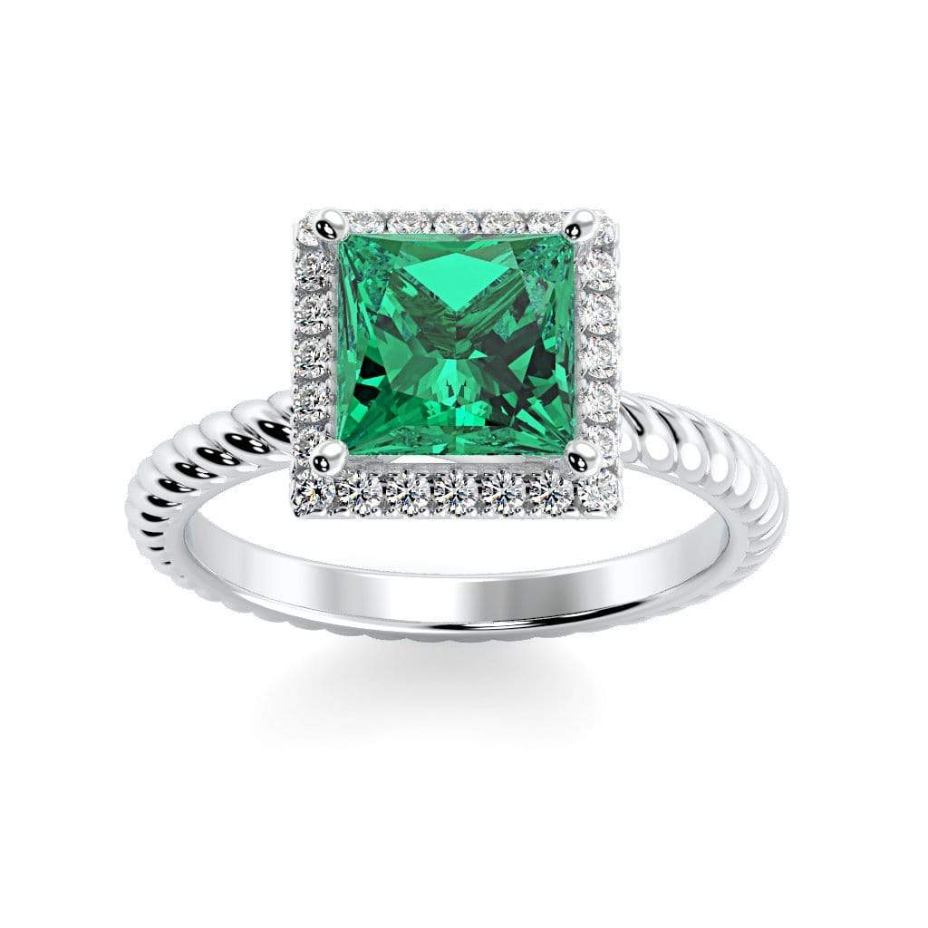 Ring 10K White Gold / 6mm Princess Sonja Princess Chatham Emerald Halo Diamond Ring Sonya  | Chatham Emerald | Halo Diamond Ring  | Storyandhearts.com