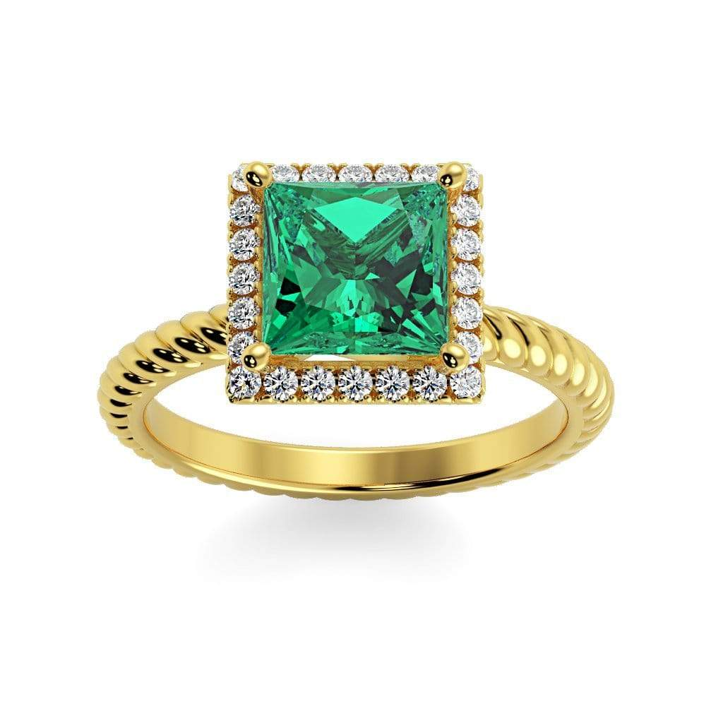 Ring 10K Yellow Gold / 6mm Princess Sonja Princess Chatham Emerald Halo Diamond Ring Sonya  | Chatham Emerald | Halo Diamond Ring  | Storyandhearts.com