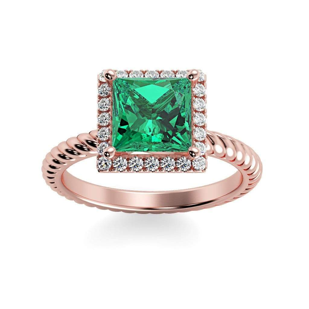 Ring 14K Rose Gold / 6mm Princess Sonja Princess Chatham Emerald Halo Diamond Ring Sonya  | Chatham Emerald | Halo Diamond Ring  | Storyandhearts.com