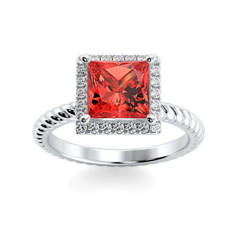 Ring 10K White Gold / 6mm Princess Sonja Princess Chatham Padparadscha Sapphire Halo Diamond Ring Sonya  | Chatham Padparadscha Sapphire | Halo Diamond Ring  | Storyandhearts.com