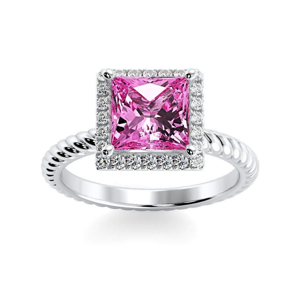 Ring 10K White Gold / 6mm Princess Sonja Princess Chatham Pink Sapphire Halo Diamond Ring Sonya  | Chatham Pink Sapphire | Halo Diamond Ring  | Storyandhearts.com