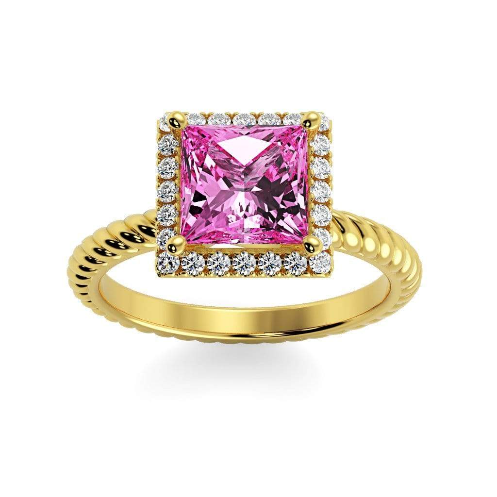 Ring 10K Yellow Gold / 6mm Princess Sonja Princess Chatham Pink Sapphire Halo Diamond Ring Sonya  | Chatham Pink Sapphire | Halo Diamond Ring  | Storyandhearts.com