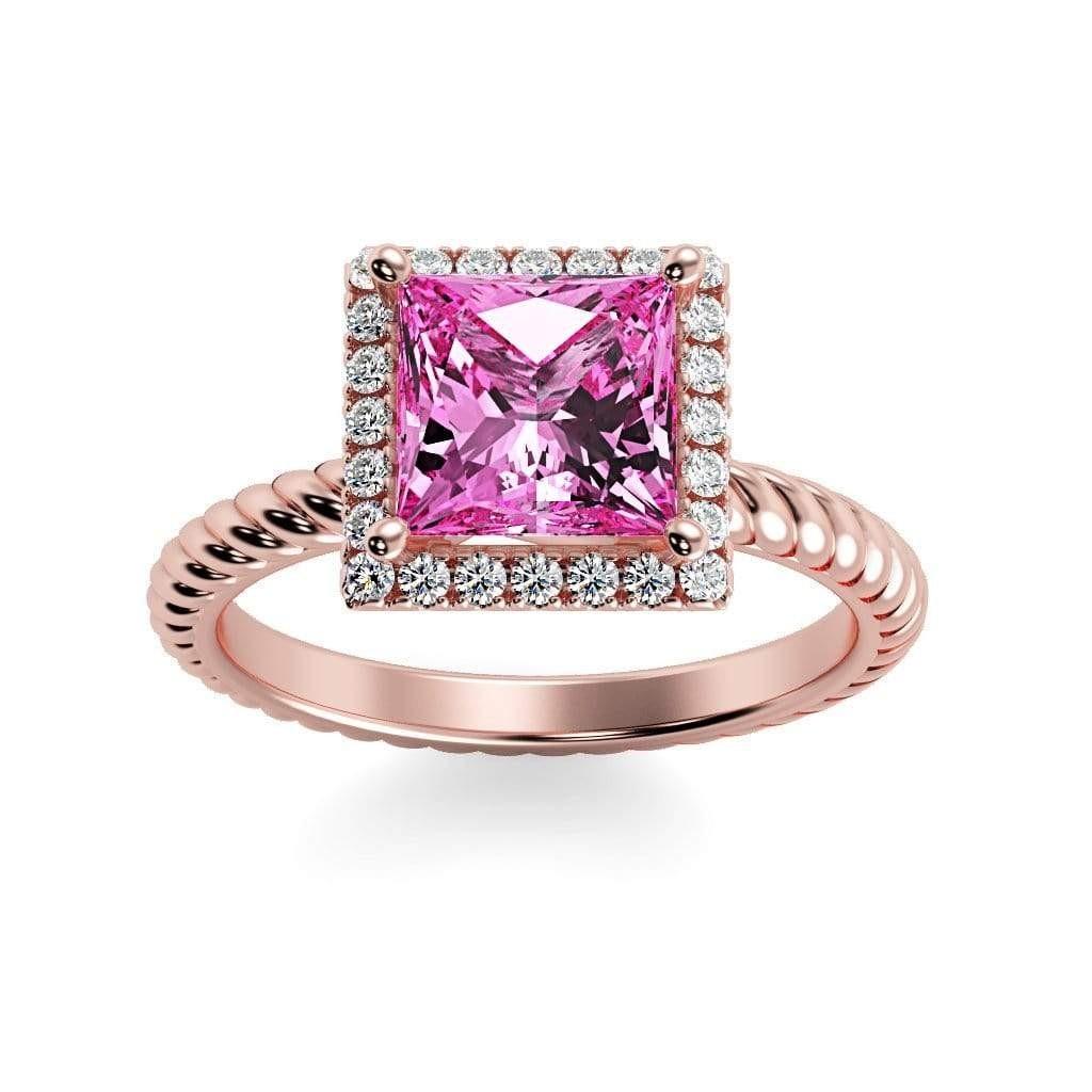 Ring 14K Rose Gold / 6mm Princess Sonja Princess Chatham Pink Sapphire Halo Diamond Ring Sonya  | Chatham Pink Sapphire | Halo Diamond Ring  | Storyandhearts.com