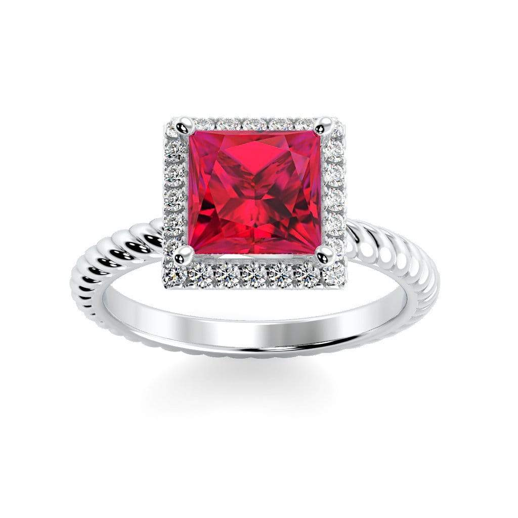 Ring 10K White Gold / 6mm Princess Sonja Princess Chatham Ruby Halo Diamond Ring Sonya  | Chatham Ruby | Halo Diamond Ring  | Storyandhearts.com