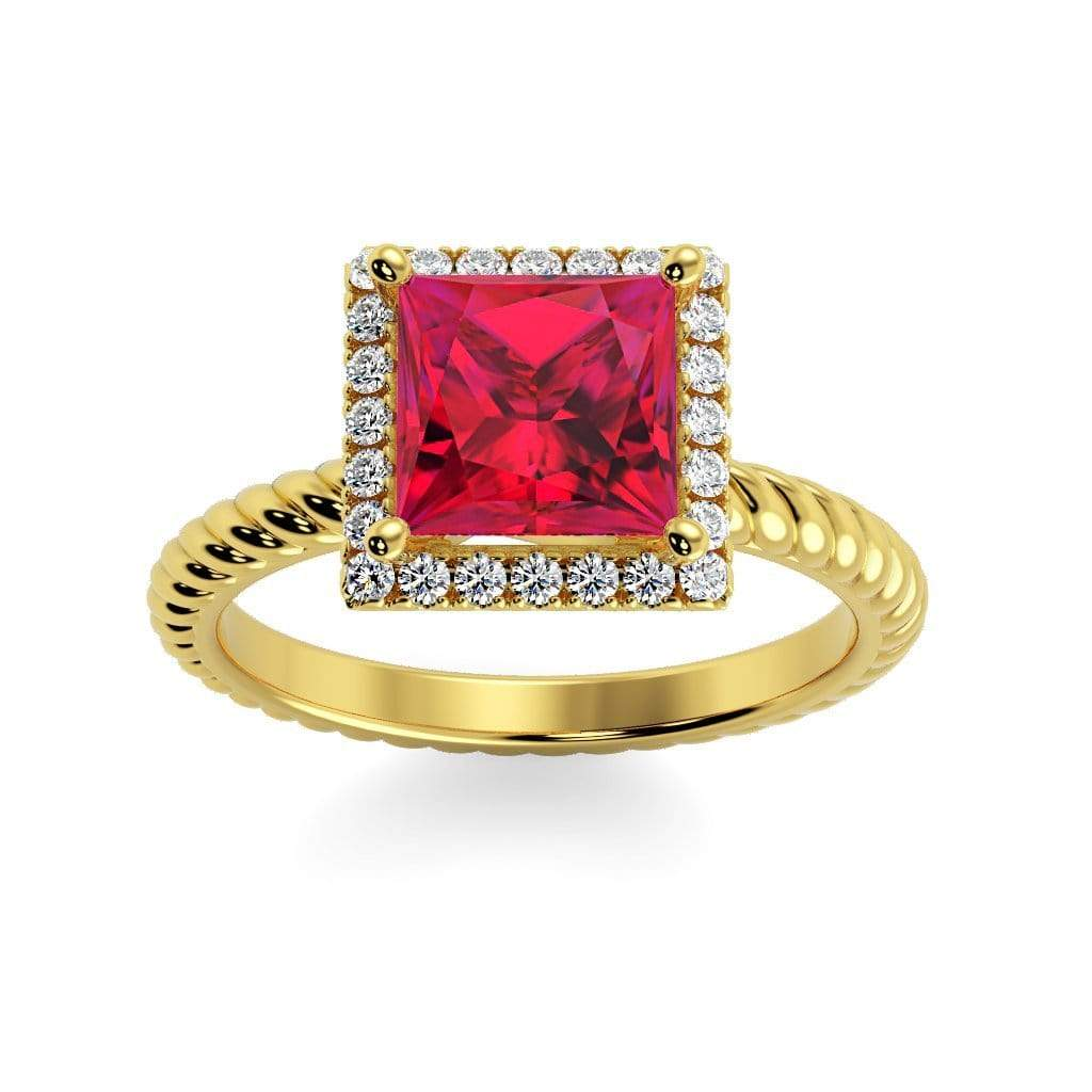 Ring 10K Yellow Gold / 6mm Princess Sonja Princess Chatham Ruby Halo Diamond Ring Sonya  | Chatham Ruby | Halo Diamond Ring  | Storyandhearts.com