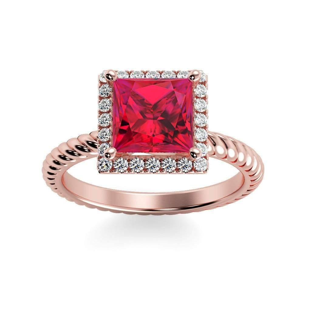 Ring 14K Rose Gold / 6mm Princess Sonja Princess Chatham Ruby Halo Diamond Ring Sonya  | Chatham Ruby | Halo Diamond Ring  | Storyandhearts.com