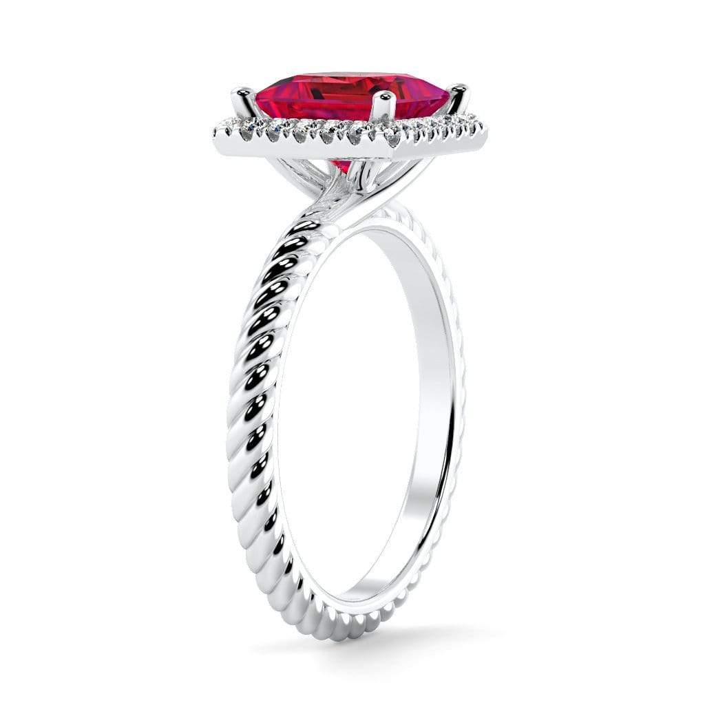 Ring Sonja Princess Chatham Ruby Halo Diamond Ring Sonya  | Chatham Ruby | Halo Diamond Ring  | Storyandhearts.com