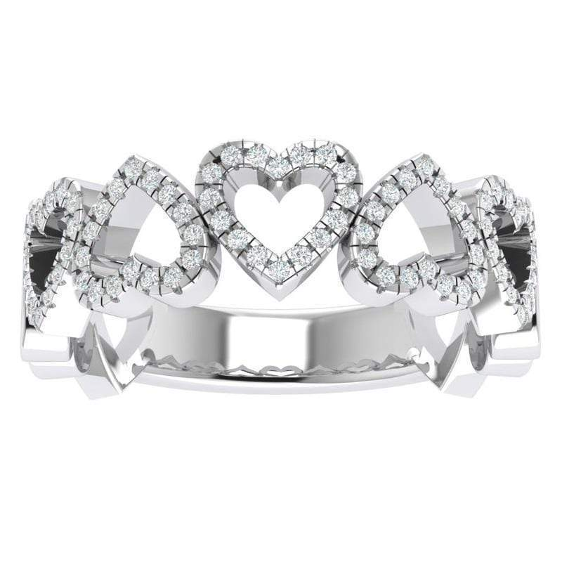 Ring 3.5 / 14K White Gold The 14K Gold Story & Hearts Signature Stackable