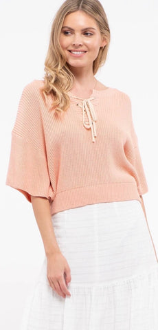 Lace Up Batwing Knit Top