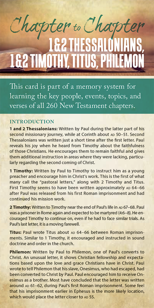 Chapter to Chapter - 1 & 2 Thessalonians, 1 & 2 Timothy, Titus, Philemon (Pack of 10) Info-Cards or Oversize Bookmarks - Glad Tidings Publishing