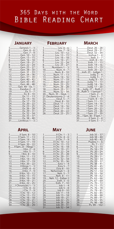 Annual Bible Reading Chart (Pack of 10)