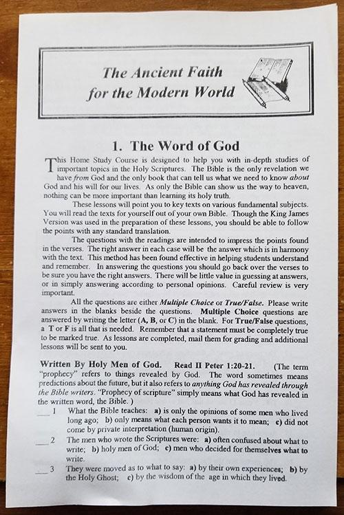 The Ancient Faith for the Modern World 22-Lesson Bible Correspondence Course
