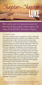 Chapter to Chapter - Luke (Pack of 10) Info-Cards or Oversize Bookmarks - Glad Tidings Publishing
