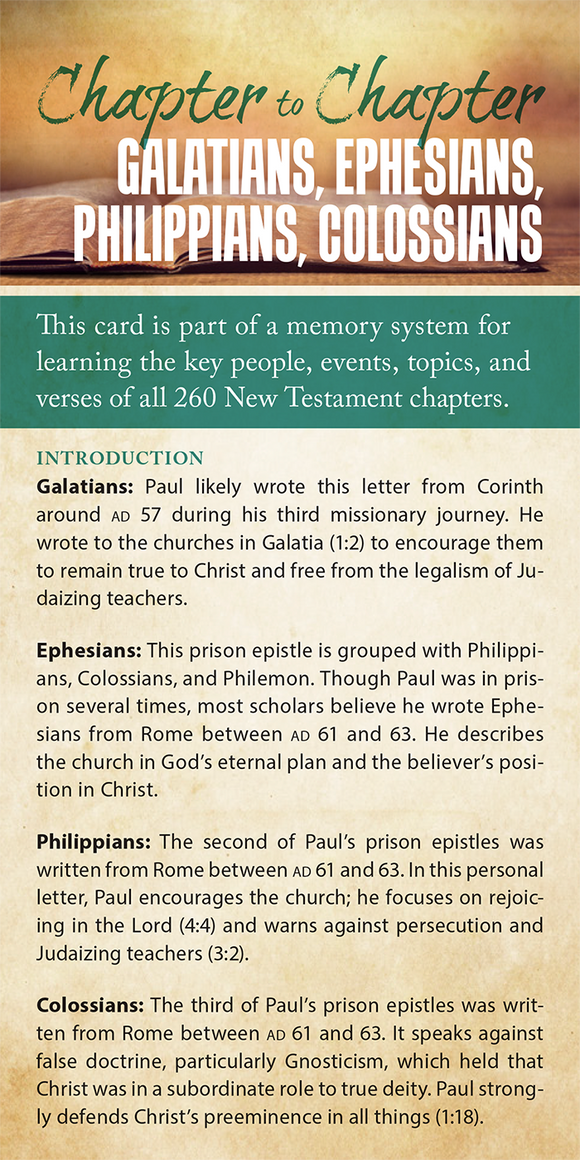 Chapter to Chapter - Galatians, Ephesians, Philippians, Colossians (Pack of 10) Info-Cards or Oversize Bookmarks - Glad Tidings Publishing