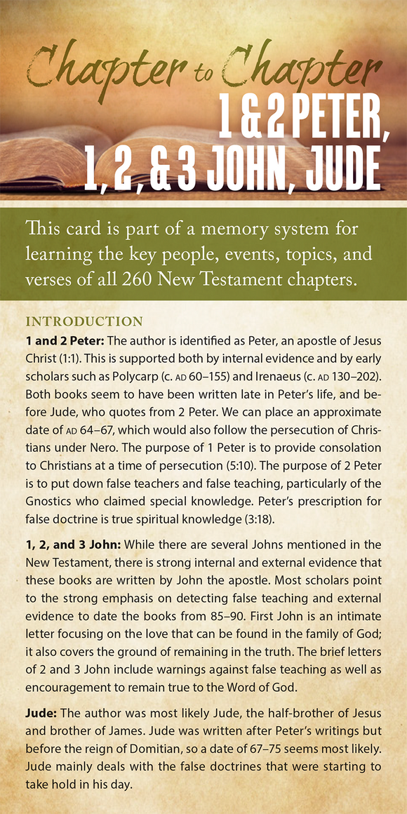 Chapter to Chapter - 1 & 2 Peter, 1, 2, 3 John, Jude (Pack of 10) Info-Cards or Oversize Bookmarks - Glad Tidings Publishing
